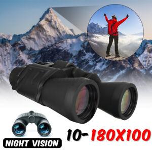 10-180x100 Optical Red Film Zoom Binoculars Telescope Outdoor Hunt Day Vision