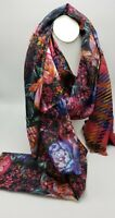 NWT Echo silk scarf  large  rectangle floral metallic on boarder K131