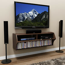 Wall Mounted TV Stand Console Wood Storage Cabinet Black Entertainment Center NE