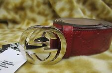 GUCCI GG WEB ROSSO RED LEATHER MENS BELT 40 / 100 NEW NWT $375