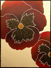 """Carol Hoffnagle """"Pansies I"""" Signed & Numbered Collagraph Art floral MAKE OFFER"""