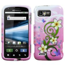 For AT&T Motorola Atrix 2 HARD Protector Case Snap Phone Cover Pink White Flower