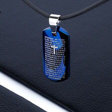 Mens Unisex Stainless Steel Pendant Military Necklace Blue Cross Our Fathers L35