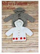 CROCHET PATTERN for BABY HOODED JACKET Newborn, 0-3, 3-6, 6-9, 9-12mth #206