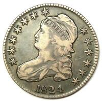 1824 Capped Bust Half Dollar 50C Coin - VF / XF Details - Rare Date!