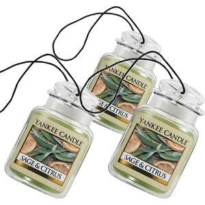 Yankee Candle Car Jar Ultimate Odor Neutralizing Air Freshener Sage & Citrus-3PK
