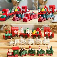 Christmas Wooden Train Festive Ornament Santa Claus Snowman Xmas Home DecorS