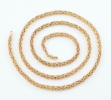 Vintage Solid 9Ct Gold Square Byzantine Link Design Neck Chain Necklace 24''