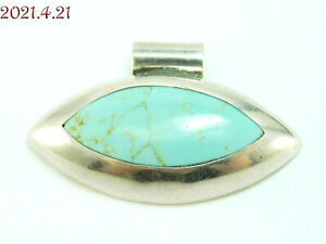 Modernist Sleek Marquise Turquoise East/West Sterling Silver 925 Pendant Mexico
