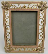 Gold Swirl Enamel with Rhinestones 8x10  Photo Frame Russ # 24614