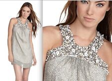 $288 French Connection Silk Print Pick & Mix Beading Dress 6