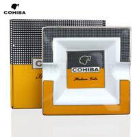 HOT COHIBA Classic Yellow & White Square Ceramic Cigar Ashtray Holds 2 Cigars