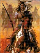 Cross Stitch Chart Pattern Indian Warrior (3) Needlework Picture Design Craft