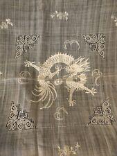 Antique Linen embroidered tablecloth Dragons flowers & butterflies 40�x40� Rar
