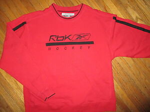 REEBOK HOCKEY SWEATSHIRT Black Stripes Trim RBK Crewneck Embroidered YOUTH LARGE