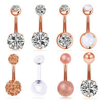 8Pcs/Set Steel Navel Rings Crystal Belly Button Ring Bar Body Piercing Jewelry #