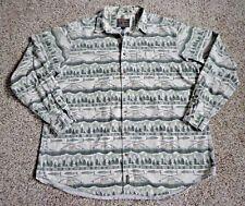 Vtg Woolrich Men 2XL Tall Shirt Flannel Fishing Forest Tree Outdoors Beige Green