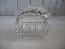 Art Deco Clear glass & chrome handle w figural Fruit Leaves Berries Basket Dish