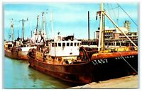 Postcard Lowestoft Suffolk Trawlers in the Harbour posted 1967