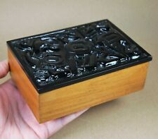 Vintage Cedar Box with Simulated Argillite Carved Stone Lid in Haida Style