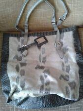 MATALAN large faux snakeskin tote bag shopping bag in cream and grey