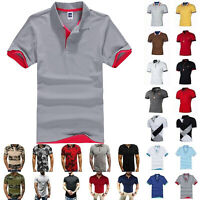 Mens Polo Shirts Summer Short Sleeve Slim Fit T-Shirt Golf Sport Casual Tees Top
