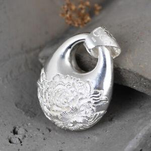 I05 Pendentif Ovale Grand Fleur Sterling Argent 925