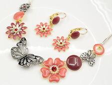 1 set gold flower butterfly red crystal enamel statement necklace earrings S10