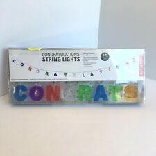 Kikkerland CONGRATULATIONS Battery Operated String Lights 6 ft NEW