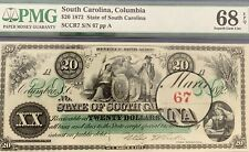 1872 $20 (XX) STATE OF SOUTH CAROLINA, COLUMBIA TWO SERIAL NUM 67 SUPERb GEM U68