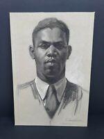 Original Portrait Drawing African American Man By Simon Vanderlaan SV62