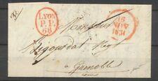 1831 Lettre LYON/P.P./68, ovale rouge + dateur A rouge, rare, Superbe X4879