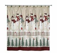 NEW! AVANTI Snowmen Gathering Shower Curtain & Fingertip Towel Set - FAST SHIP!!