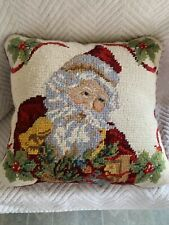 Needlepoint Throw Pillow With Santa With Holly Berries & Green Leaves 11.5""