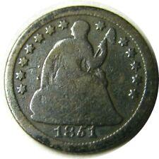 elf Seated Liberty Half Dime 1851 O  Drapery at Elbow
