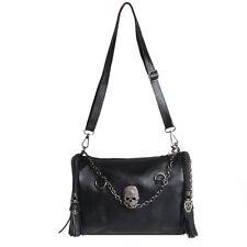 Womens Pu Leather Punk Rock Shoulder Bag Satchel Skull Rivet Tassel Handbag