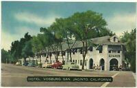 Linen Postcard Hotel Vosburg San Jacinto California CA Street View Cars Shops
