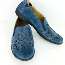 Earth Origins Rikki 10 M Slip On Blue Suede Leather Shoes Cutout Flat Loafers