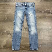 Gap Womans Always Skinny Jeans Light Wash Denim Distress Size 25 Regular