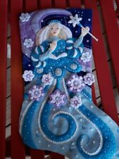 "Finished Bucilla "" Snow Princess 18"" Christmas Stocking - Handstitched"