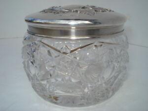 Russian Silver- Cut Crystal & Silver Circular Table Box- Circa: 1890's
