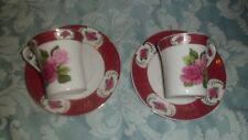 The Leonardo Collection 40th  Ruby cups & saucers x  2