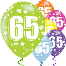 "6 x 65th Birthday Various Colours Mix 11"" Latex Balloons Party Age 66655"
