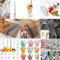 Reusable Stainless Steel Metal Drinking Straws Fruit Paper Straws Party Decor