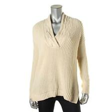 Lauren Ralph Lauren Womens Ivory Shawl Collar 100% Cotton Pullover Sweater L NWT