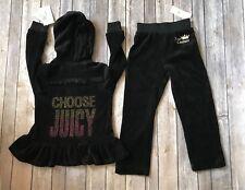 Juicy Couture Girls Velour Set Jacket Pants Black Tracksuit Sweatsuit Size 4