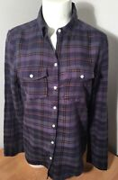 Rubbish S Purple Plaid Shirt Long Sleeve Button Front Chest Pocket Cotton Blouse