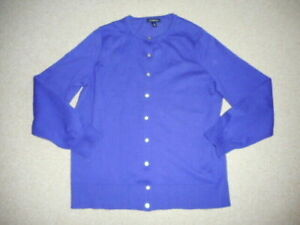 Womens Sweater-LANDS' END-purple cotton blend buttondown cardigan ls-14W (OX)