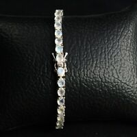 Blue Fire Natural Rainbow Moonstone Gemstone 925 Sterling Silver Tennis Bracelet