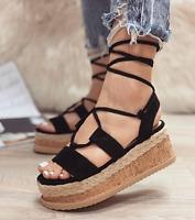Scarpe Aperte Donna con zeppa 7 cm lacci alla schiava sandali donna Moda Italy